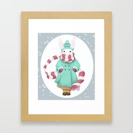 Bunny Sister Out On a Winter Day Framed Art Print