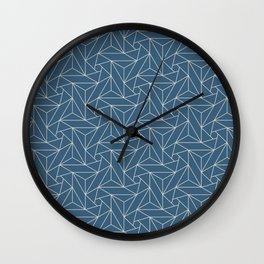 Linen White & Blue Abstract Triangle Geometric Mosaic Shape Pattern Pairs To 2020 Color of the Year Wall Clock