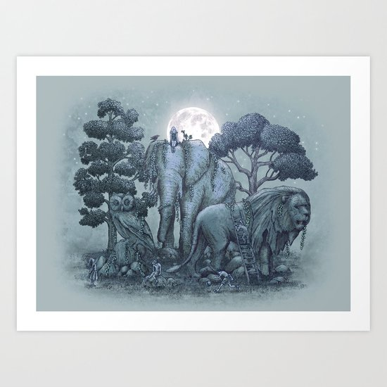 Midnight in the Stone Garden (colour option) Art Print