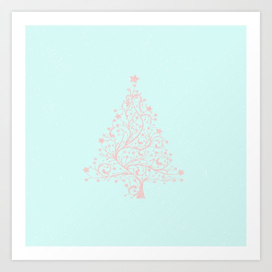 Merry christmas- Pink abstract christmastree on turquoise backround Art Print