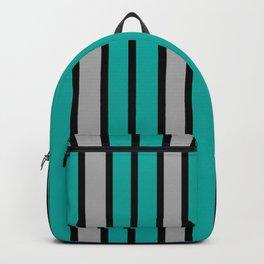 Turquoise, Black & Light Gray Stripes Backpack