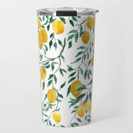 watercoor yellow lemon pattern Travel Mug