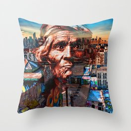 Ghost Tribe Native Americans in New York Red Throw Pillow
