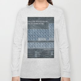 Tableau Periodiques Periodic Table Of The Elements Vintage Chart Blue Long Sleeve T-shirt