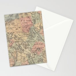 Vintage Map of The NH Lakes Region (1890) Stationery Cards