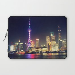 Shanghai Cityscape At Night Laptop Sleeve
