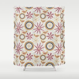 Birds and Flowers Mosaic - Grey, Rust and Red Shower Curtain