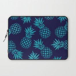 Pineapple Pattern - Teal on Navy Laptop Sleeve