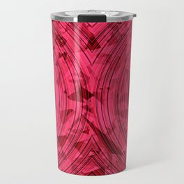 psychedelic geometric circle pattern abstract background in red and pink Travel Mug