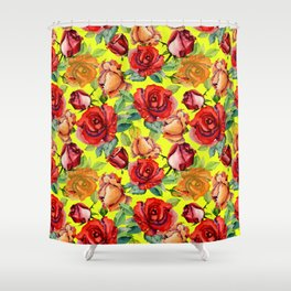 Botanical red orange yellow hand painted roses pattern Shower Curtain