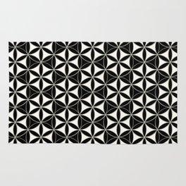 Flower of Life Pattern black-white Rug