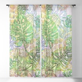 Pineapple Floral Summer Sheer Curtain