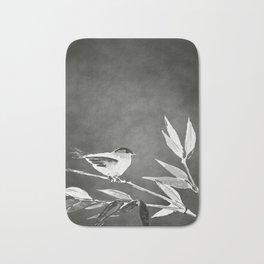 Little bird on bamboo branch. Bath Mat