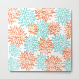 aqua and coral flowers Metal Print