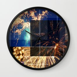 Fireworks In The Dimness Of The Night Wall Clock