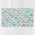 Pencil & Paint Fish Scale Cutout Pattern - white, teal, yellow & pink by micklyn