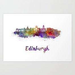 Edinburgh skyline in watercolor Art Print