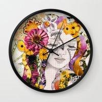 flora Wall Clocks featuring Flora by Jenndalyn