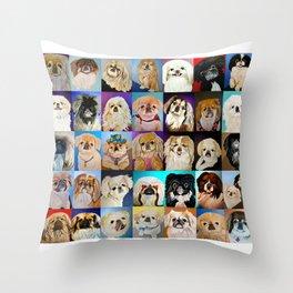 Peke Collage Throw Pillow
