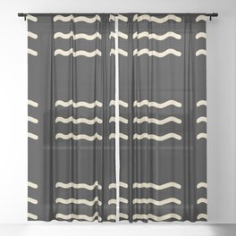 WAVY LINES . BLACK AND IVORY Sheer Curtain