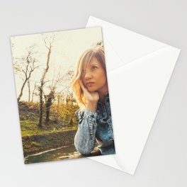 Lovely young woman in the Natural Park of Ticino Stationery Cards