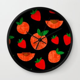 Tropical exotic peach slices and sweet red strawberries summer fruity bright sunny pastel white distressed cute black pattern design. Wall Clock