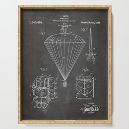 Parachute Patent - Sky Diving Art - Black Chalkboard Serving Tray