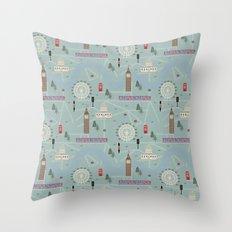 London Map Print Illustration Throw Pillow