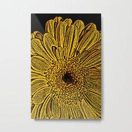 Yellow flower woodcut Metal Print