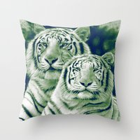 tigers Throw Pillows featuring Two Tigers by Thubakabra