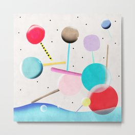 Lolli pop floating water waves and bubbles Metal Print