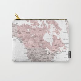 Dusty pink and grey detailed watercolor world map Carry-All Pouch
