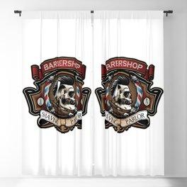 Classic Barbershop Logo Blackout Curtain