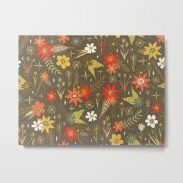 retro floral in funky colors Metal Print