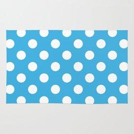 Cerulean and Polka White Dots Rug