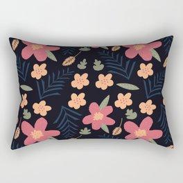 Pink Noir Flowers Rectangular Pillow