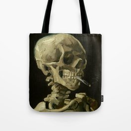 Skull of a Skeleton with Burning Cigarette Painting by Vincent van Gogh Tote Bag