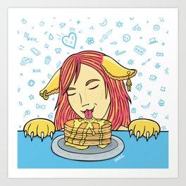 Cat Girl Pancakes Doodle  Art Print