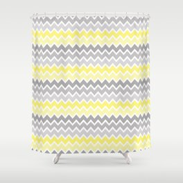 Grey Gray Yellow Ombre Chevron Shower Curtain