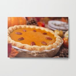 Homemade pumpkin pie on a rustic table with autumn decorations Metal Print