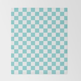 Gingham Pale Turquoise Checked Pattern Throw Blanket