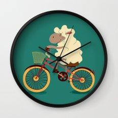 Lamb on the bike Wall Clock