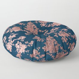 Navy blue faux rose gold watercolor floral Floor Pillow