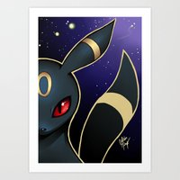 umbreon Art Prints featuring UMBREON by goldhedgehog