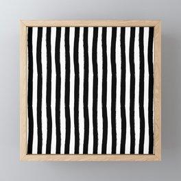 Black and White Cabana Stripes Palm Beach Preppy Framed Mini Art Print