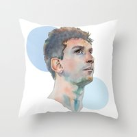 messi Throw Pillows featuring Lionel Messi by Megan Diño
