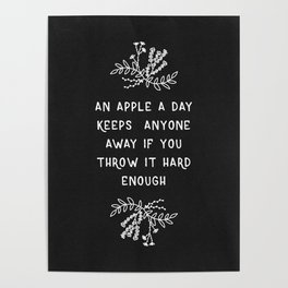An Apple A Day BW Poster