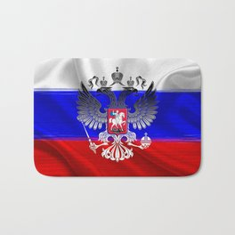 Flag of Russia with the coat of arms laid over it Bath Mat