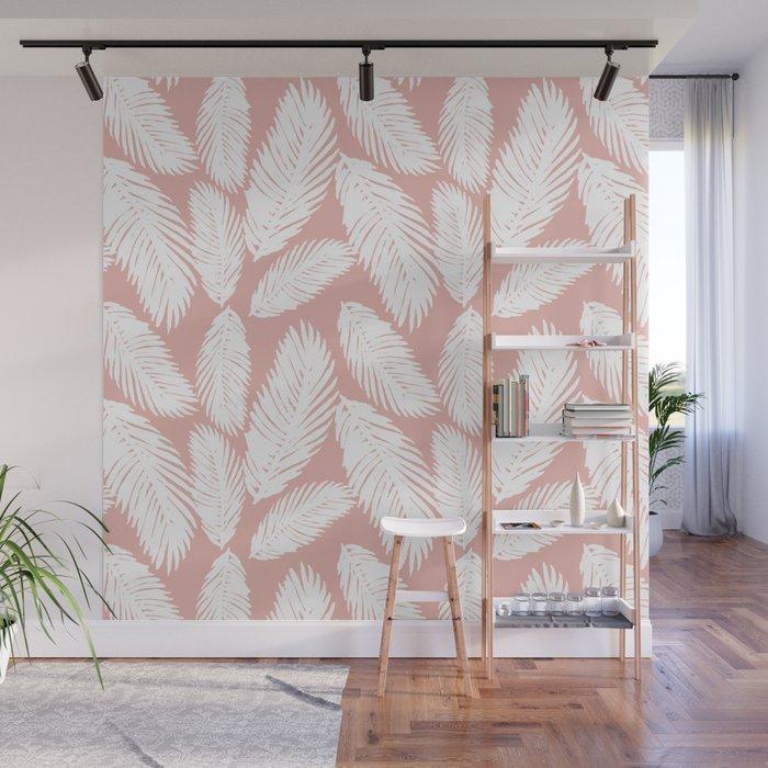 Pink Tropical Leaf Pattern Wall Mural