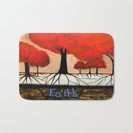 Roots--spiritual abstract painting by Saribelle Bath Mat